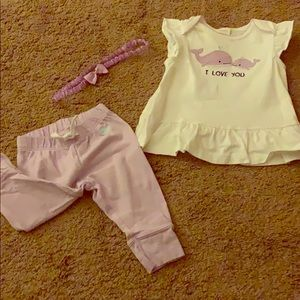 """Gymboree Matching Sets - Baby girl """"I love you"""" whale outfit"""
